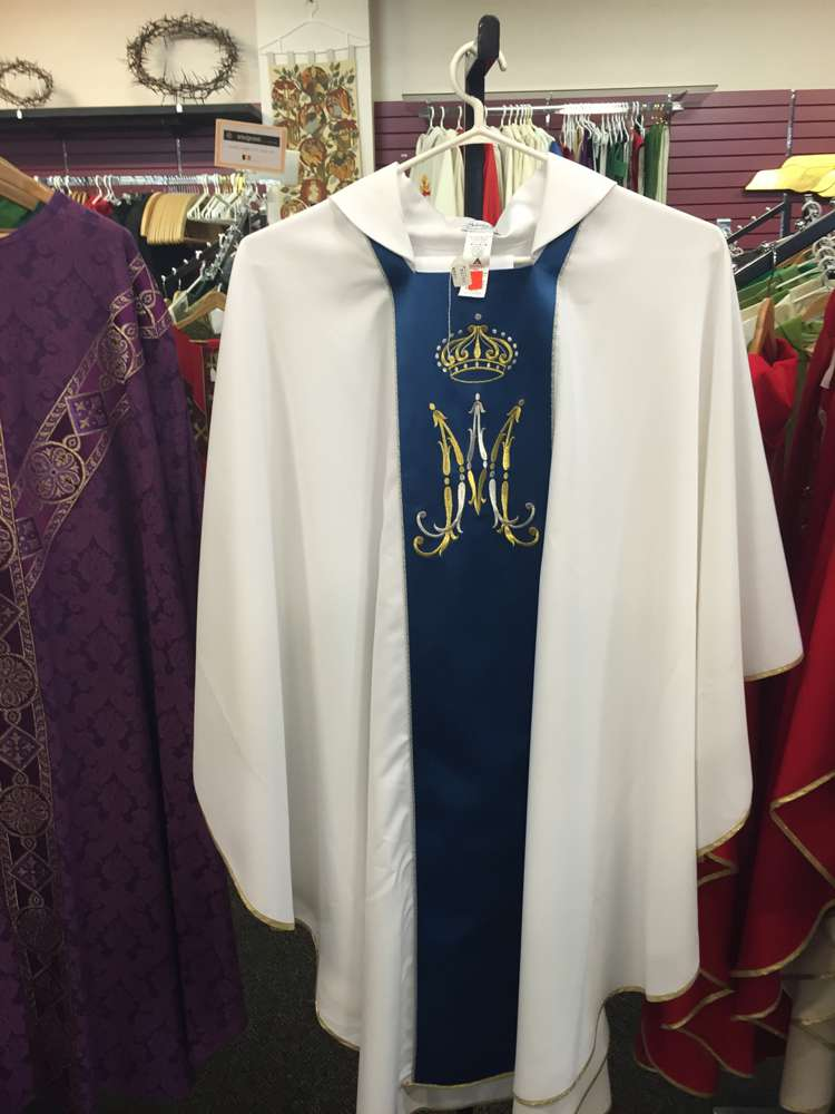 Solivari White Marian Chasuble, from Italy