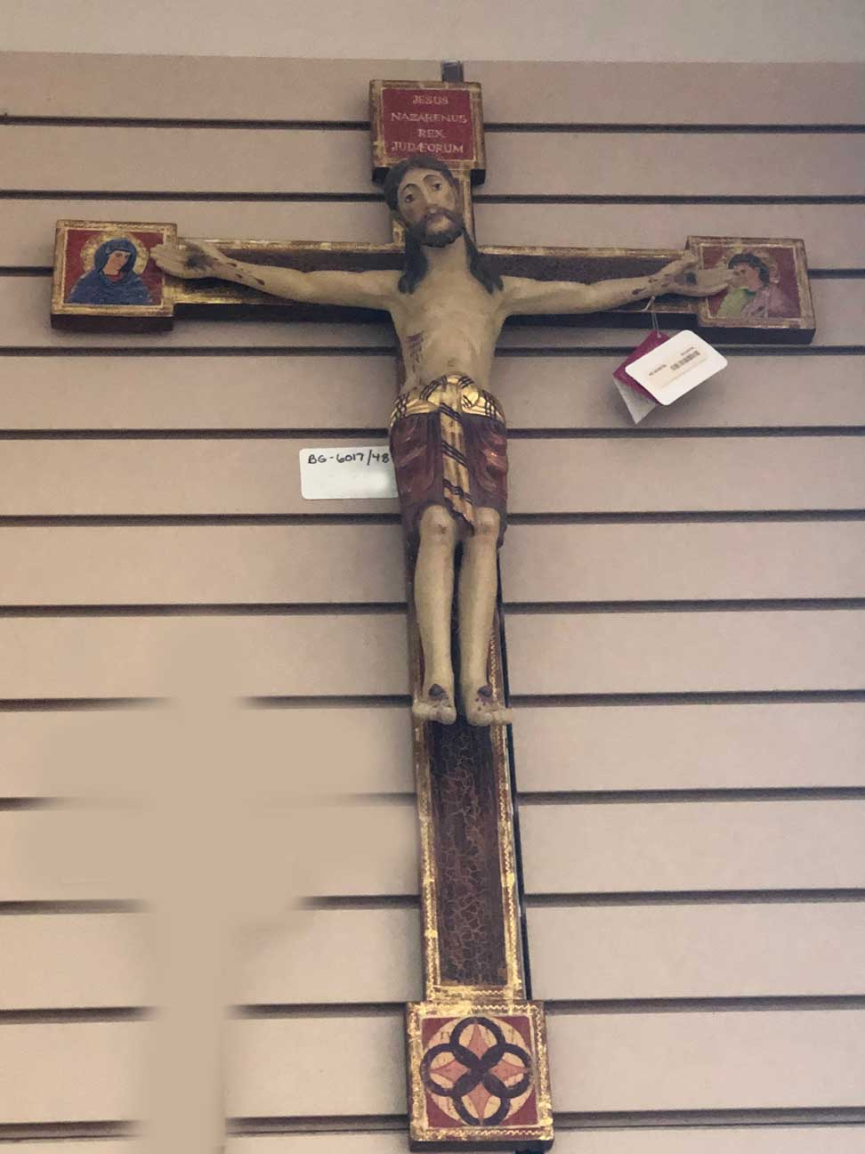 "34"" Wood Carved and Hand Painted Wall Crucifix Made in Italy"
