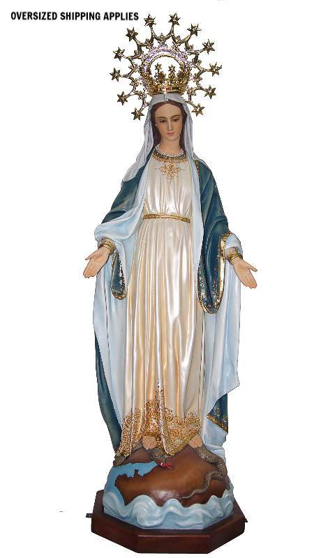 3545 Our Lady of Grace-Highly Decorated 4ft Fiberglass Full Color Handpainted