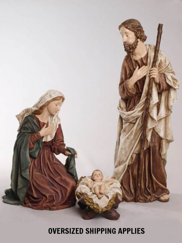 "36"" Rustic Holy Family 36"" Holy Family with Burlap Accent, large scale nativity set, large holy family, chapel nativity, chapel holy family, yard holy family, yard nativity"