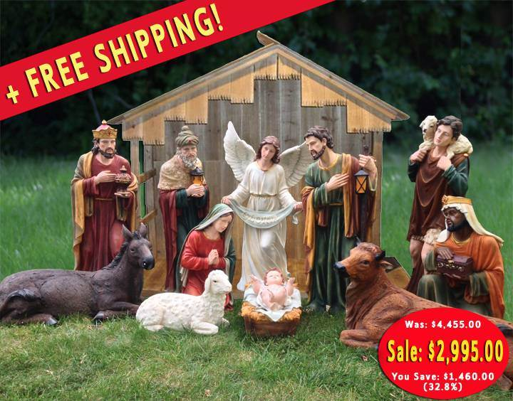 "39"" Large Scale Fiberglass Nativity Set with Stable"