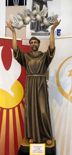 390/12 4' St. Francis Assisi With Doves Cast In Fiberglass