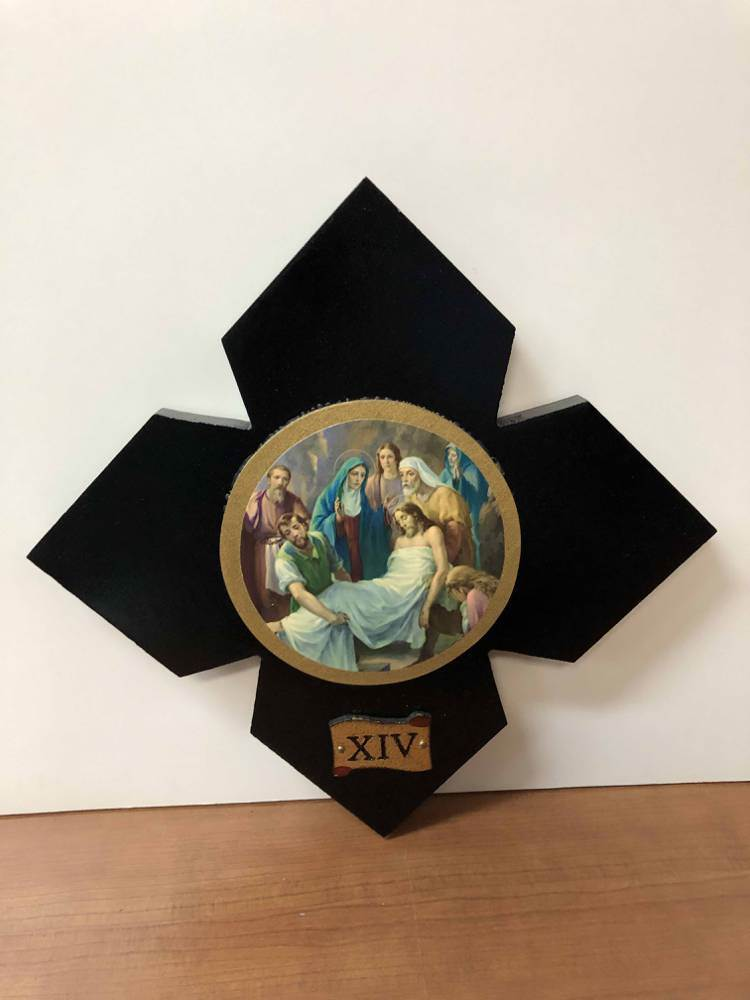 391/2 Set 14 Stations Of Cross Florentine Finish;25X25 X1.5Cm Croci Via Crucis Con Immagini - 41526