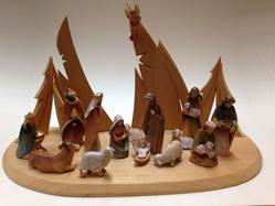 "4"" 17 Piece Woodcarved Colored Nativity with Stable *WHILE THEY LAST*"