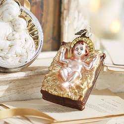 "4.5"" Baby Jesus in Creche Glass Ornament"