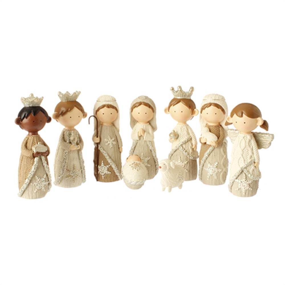 "4.5"" Faux Knit Nativity Set 9 Figures"