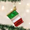 "4.5"" Italian Flag Glass Ornament"