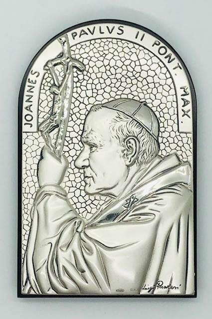 "4.5"" Pope John Paul II Arched Silver Plated Plaque, Made In Italy"
