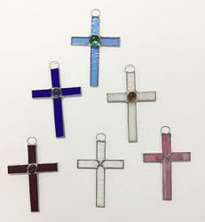 "4.5"" Stained Glass Wall Cross from Mexico"
