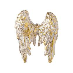 "4.75"" Angel Wing Ornament with Gold Accent"