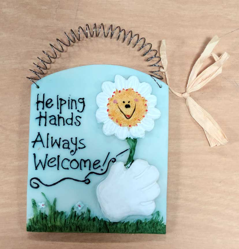 "4"" Helping Hands Always Welcome Plaque 