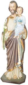 4' St. Joseph Statue Fiberglass - Hand Painted Glass Eyes, Wood Base