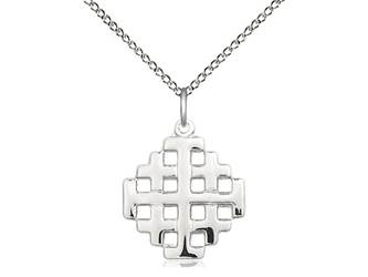 Sterling Silver Jerusalem Cross Pendant on a 18 inch Sterling Silver Light Curb Chain. ?Gift Boxed; Made in the USA