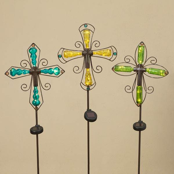 "42""H Solar Lighted Metal and Glass Cross Yard Stake, Sold in Assorted Colors"