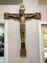 "43"" Romanic Crucifix Color Wood Carved Made In Italy Old Crucifix, romanic cross, antique cross, antique crucifix, chapel cross, church crucifix, Bergland, 6017, Italian crucifix"