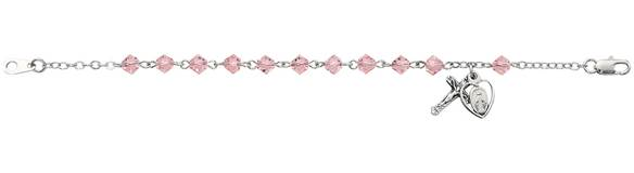 4Mm Pink Bracelet With Cross