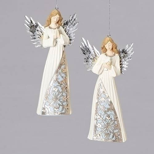 "5.25"" Assorted Blue/Ivory Angel Ornaments with Laser Cut Design"
