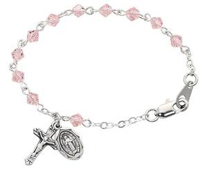 "5.5"" Rose Crystal Bead Baby Rosary Bracelet with Sterling Silver Crucifix and Miraculous Medal"