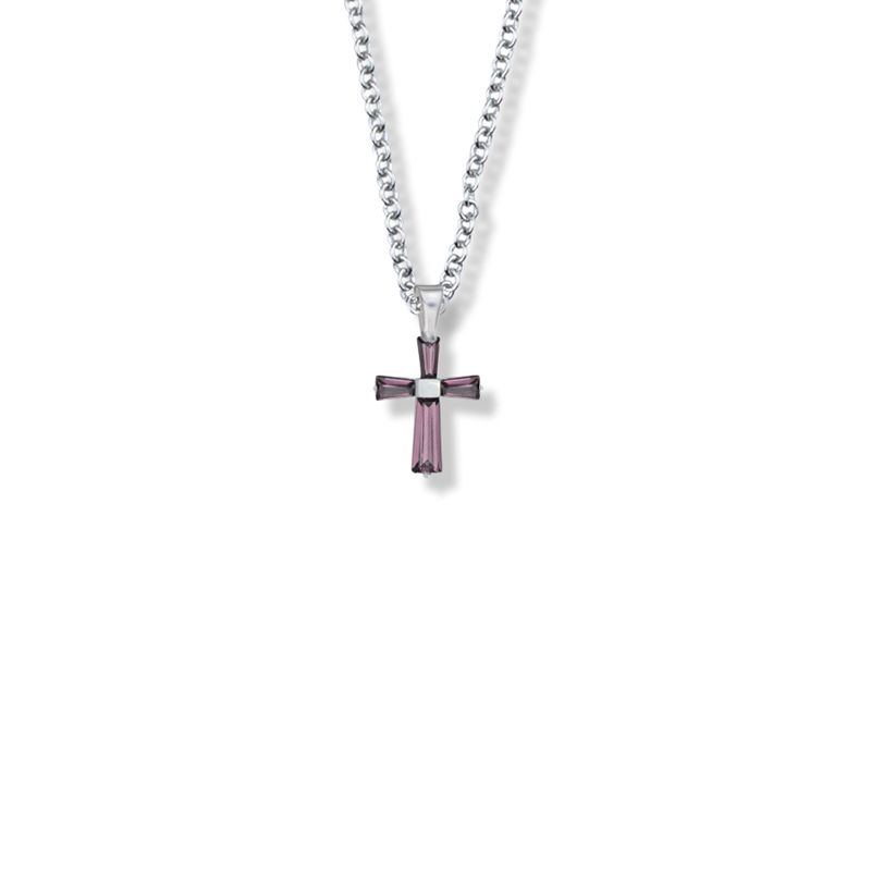 "5/8 Inch Sterling Silver and Glass Crystal February Birthstone Baguette Cross Necklace on 16"" Stainless Chain Gift Boxed / Sx9017Sh"