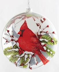 "5"" Glass Cardinal Ornament"