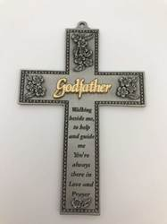 "5"" Godfather Cross wall cross, baby cross, baptism cross, christening cross, pewter cross, gift, baby, new baby, JC-9310-E godfather cross"