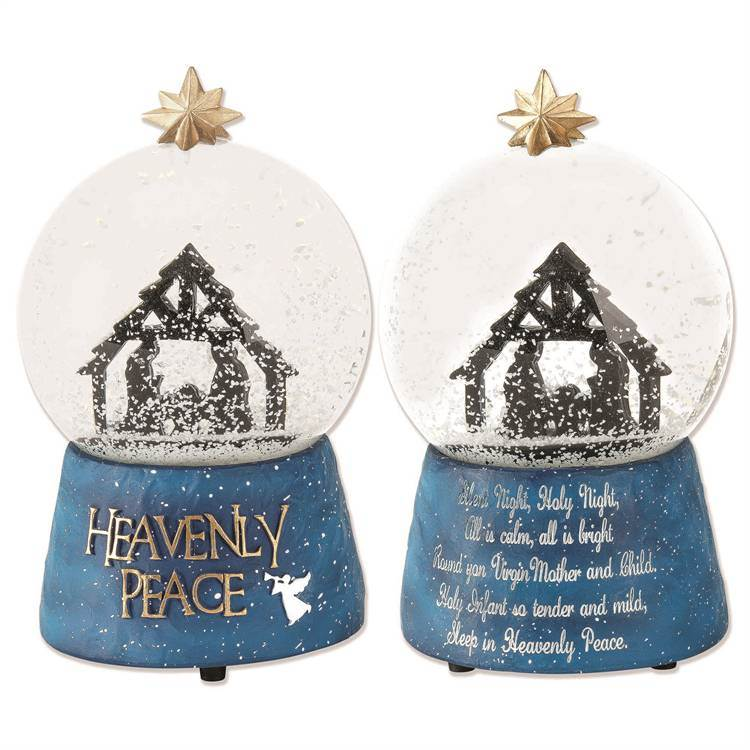 GLOBE WTR MUS HEAVENLY PEACE, 3 5/8 inches by 6 inches Height - Resin -100MM- Plays Silent Night
