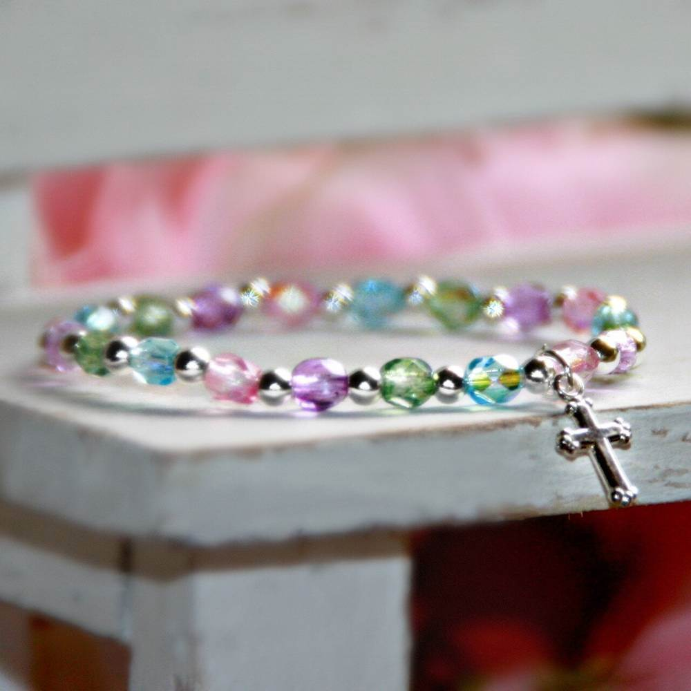 "5"" Multi Crystal Sterling Silver Stretchy Bracelet"