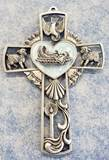"5"" Pewter Baby Boy Wall Cross"