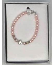 Pink Pearl Bracelet with Cross