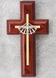 "5"" Rosewood Wall Cross with Holy Spirit"