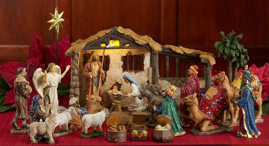 "5"" Scale Full 23pc 'First Christmas Gifts' Nativity Set"