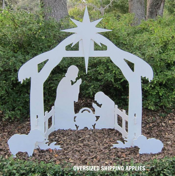 "50"" Marine Grade Outdoor Nativity Silhouette ti50, outdoor nativity, silhouette nativity, christmas gift, christmas decor, yard decor, church gift, church items, holy family, white nativity set, white outdoor nativity set, white lawn nativity set, teak isle nativity set, all weather nativity set"