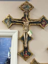 "500 Terra Cotta Cross Hand Painted In Italy;26""X 21"" #500  66 X 52 Cm"