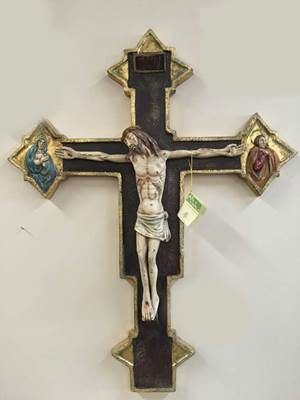 "502 Byzantine Cross Ceramic Hand Painted In Italy;31""X 25"" #502  77 X 62 Cm"