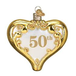 50th Anniversary Heart Glass Ornament