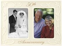 50th Anniversary Ceramic Milestones Picture Frame with Two Openings, 3-1/2-Inch by 5-Inch