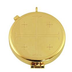 "24k gold plated pyx with engraved ""Jerusalem Cross"" from Italy"