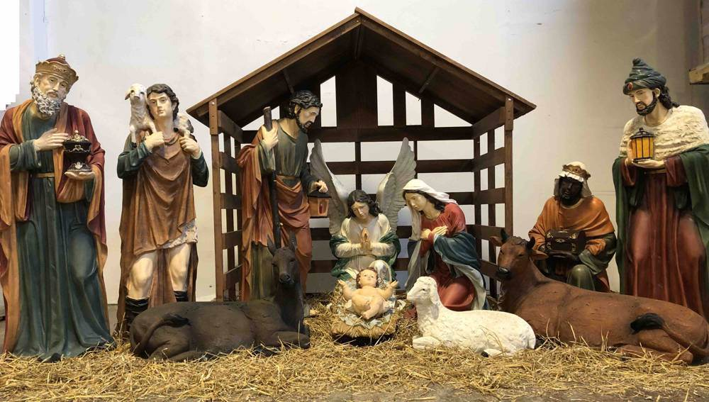 Free Standing Stained Glass Nativity Scene with moveable cast pieces