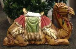 "59"" Scale Colored Seated Camel statuary, camel, nativity set, nativity piece, full color, christmas camel, church nativity, large scale nativity, outdoor nativity, 53420"
