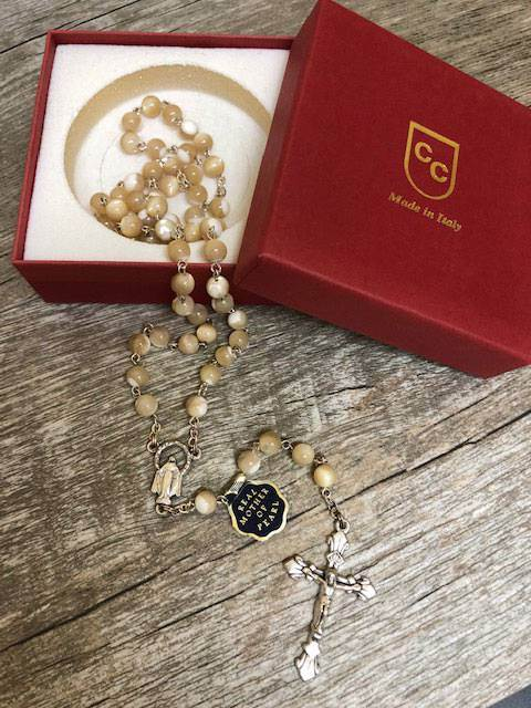 5mm Two Tone Natural Mother of Pearl Rosary from Italy