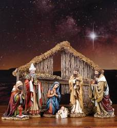 "6 1/2"" Nativity Figures with Stable nativity set, indoor nativity, 7"" nativity set, christmas gift, wedding gift,45510"