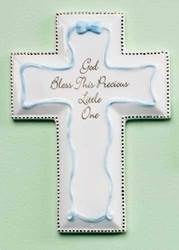 "6 1/4"" God Bless This Little One Blue Porcelain Wall Cross"