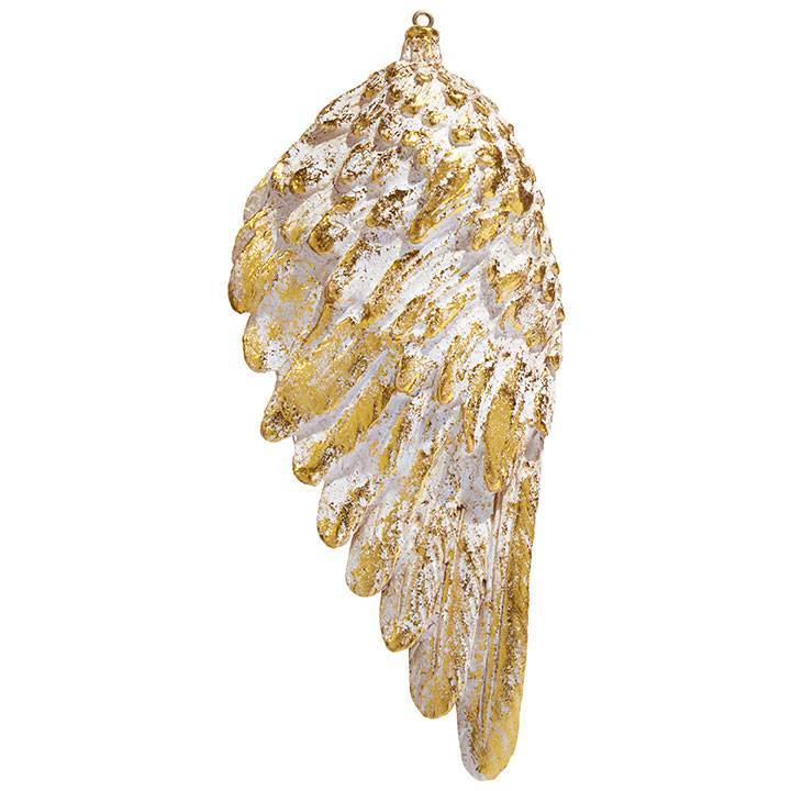 "6.5"" Angel Wing Ornament with gold accent"