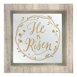 "6.5"" He Is Risen Mirrored Sign"