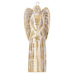 "6"" Gold Accented Angel Ornament"