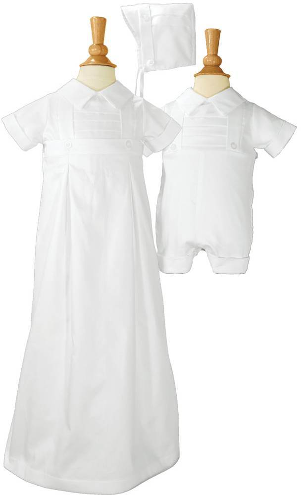 6 Month Boys 100% Cotton Convertible Christening Baptism Set with Hat
