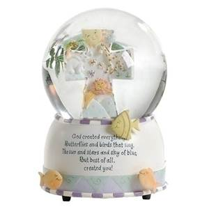 "6"" Musical 'God Created Everything' Waterglobe, plays ""Talks to the Animals"".  6""H 4.5""W 4.5""L? Resin/stone mix, glass; gift boxed"