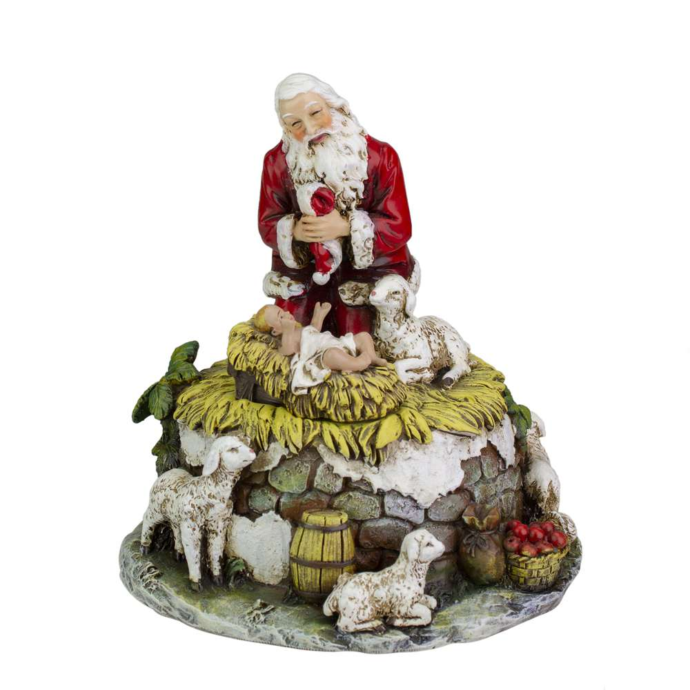 "6"" Musical Kneeling Santa Plays 'O Come All Ye Faithful' Resin/Stone Mix"