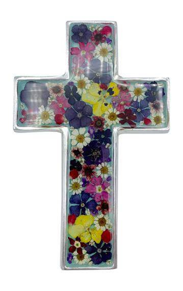 "6"" Small Pressed Flower Wall Cross"