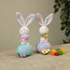 "6"" Resin Easter Bunny on Egg with Fabric Ears, Sold Assorted"